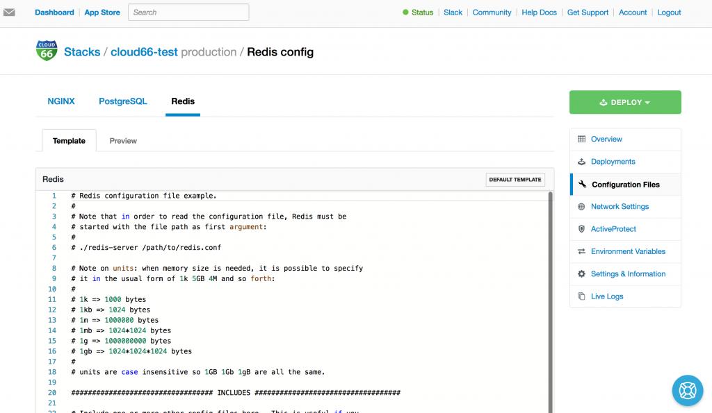 Cloud66 config template editor