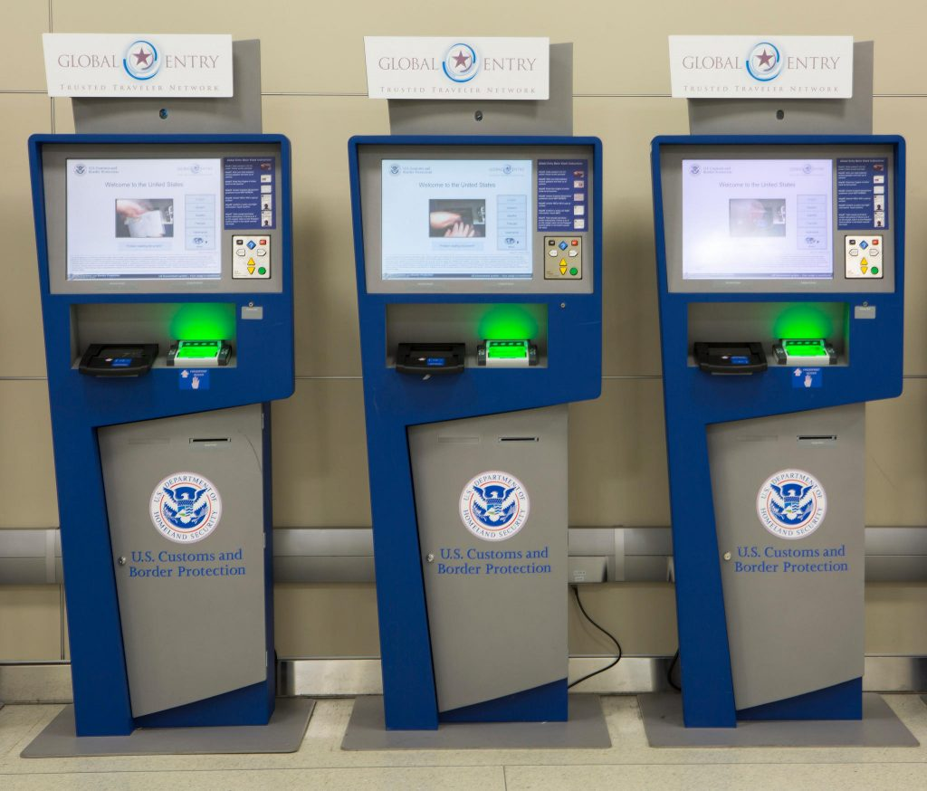 These are the Global Entry kiosks you'll now find at most US international airports. Source: U.S. Customs and Border Protection.