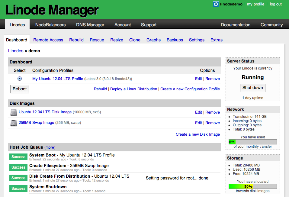Linode Manager interface (source: Linode forums)