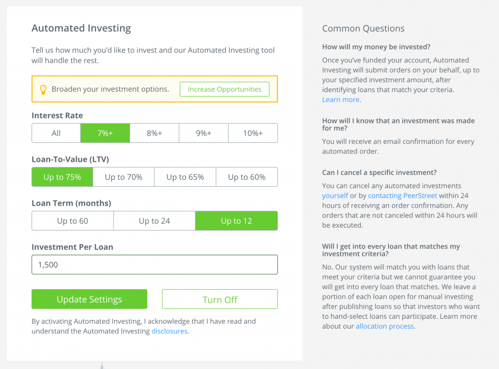 "PeerStreet's ""Automated Investing"" form."