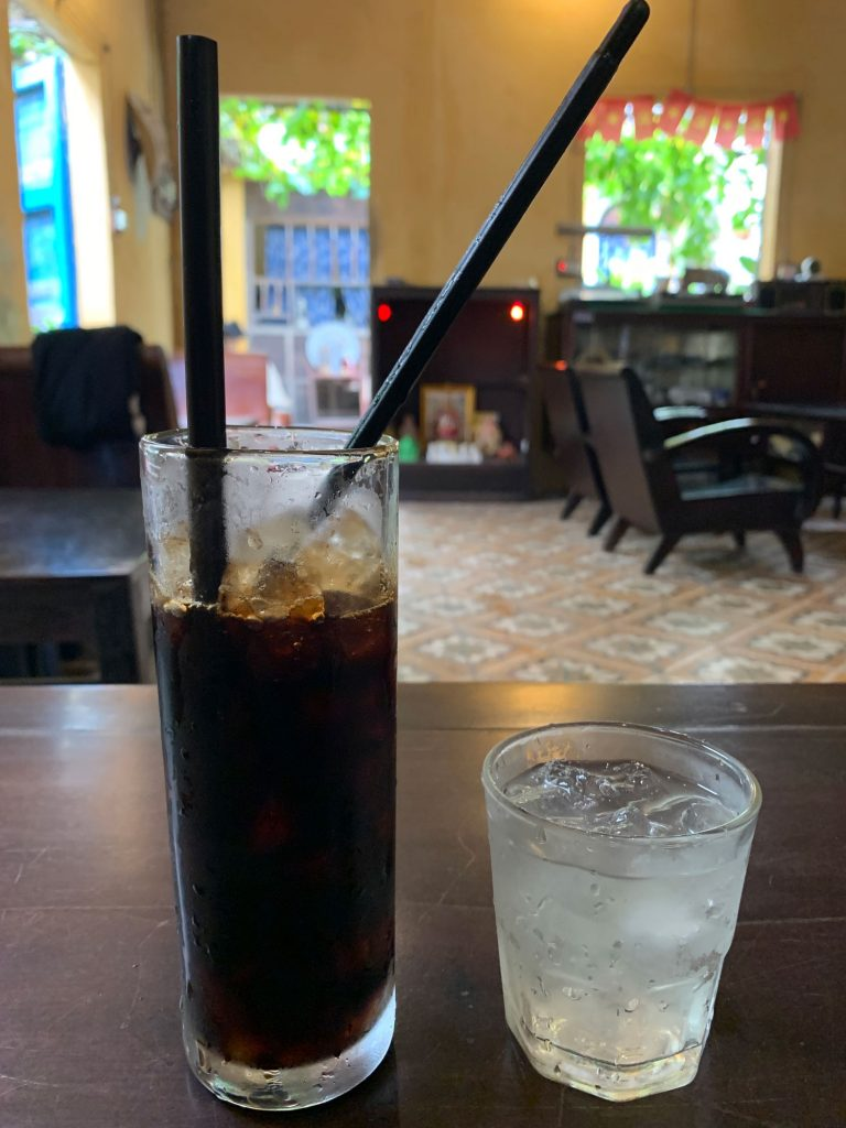 """A """"Saigon Black"""" coffee at a local cafe in My An, 17k VND or around $0.73 US"""